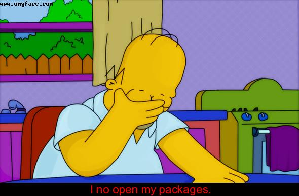 I no open my packages.